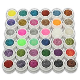 Wholesale Glitter Gel 36 - Wholesale- 1pc 36 Colors Glitter Mix Color Bling Bling UV Gel Builder Gel Polish Acrylic Set for Nail Art Tips DIY For Fingernail Beauty