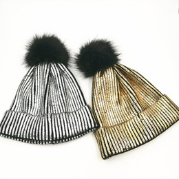 Wholesale Cuffed Pom Beanies - Bronzing gold and Silver Faux Fur Pom Pom Beanies Metallic Knitted Skullies Caps Unisex Chunky Trendy Shiny Soft Party Cuff Hat
