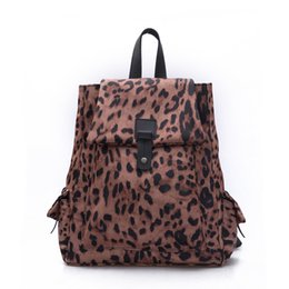 Wholesale Leopard Fashion Korean Bag - Wholesale- Fashion Women Backpack PU Leather Leopard Printing Lovely Travel Bags Unique Girls Backpack Ladies Bag Packs Female Shool Bag