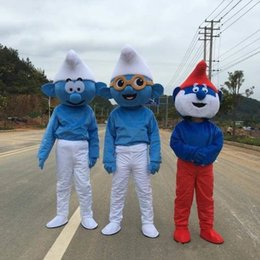 Wholesale Mascot Costume Factory - 2016 Hot Selling Lovely Blue Smurfs Papa Smurf Mascot Costume Halloween Party Fancy Dress cartoon costume factory Children adult Size