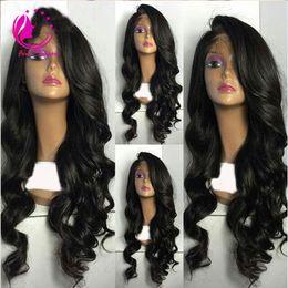 Wholesale Cheap Side Bang - Best Full density Virgin Brazilian Human Hair loose Wave Wig Glueless Remy Cheap Human Hair Full Lace Wig With Side Bangs