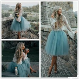 Wholesale Club Skirts - 2017 Summer Boho Short Cocktail Dresses Vintage Lace Bodice A Line Tiers Tulle See-through Prom Gowns Tutu Skirt Knee Length Party Dresses
