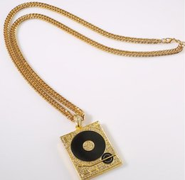 Wholesale Dj Jewelry - High-quality 24k Gold Plated Hip hop Rapper DJ Alloy Round square crystal Pendant long Necklace 80cm Long jewelry