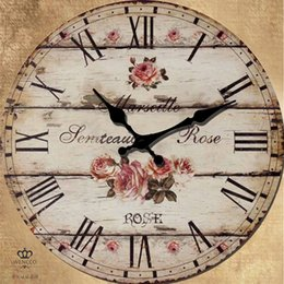 Wholesale Country Style Wall Decorations - Country Style Vintage Wall Silent Wall Clock Home Decoration Large Big Pastoral Horologe Retro-Clock Decor Pared