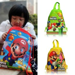Wholesale String Backpack Kids - Min Order=10PCS Super Mario Children Cartoon Drawstring Backpacks School Bags 34*27CM Kids Birthday Gift Party Bags Free Shipping