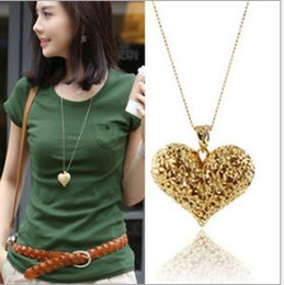 Wholesale Woman Heart Sweater - Heart Shape Necklace Wholesale Pendant Woman Girl Sweater Jewellery Long Necklace Gold Plated Charms Heart Peach Love Pendant Necklace Chain