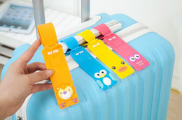 Wholesale Cartoon Luggage Tags - Cartoon silicone luggage tags bag accessories 240 by 40mm baggage tag airport flight luggage suitcase anti lost label