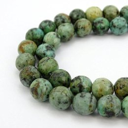 Wholesale 14mm Round Faceted - High quality natural stone beads faceted African green turquoise round loose Beads 6 8 10 12 14mm DIY Jewelry Making bracelet