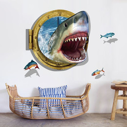 Wholesale Cartoon Wall Murals - 0809 Underwater Shark Wall Sticker Ocean View Fishes Mural Wallpaper 3D Window Wall Sticker for Kids Room