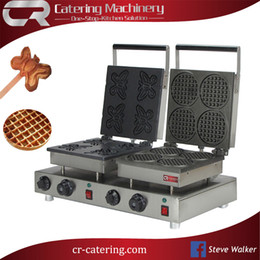 Wholesale Waffle Cones - free shipping hot professional stainless steel commercial electric waffle cone maker waffle machine 110 220V with custom plate (CR-WM554)