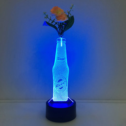 Wholesale Flowering Fruit Trees - 3D Beer Bottle Illusion Lamp Night Light with Flower DC 5V USB Charging AA Battery Wholesale Dropshipping Free Shipping Retail Box