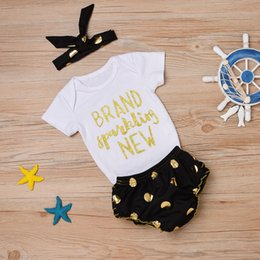 Wholesale Wholesale Lace Romper Pants - 2017 INS Baby girl Toddler Summer clothes 3piece set outfits Brand Sparkling New Romper Onesies + Gold Dots Lace Shorts Pants + Headband