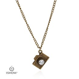 Wholesale Camera Charms Necklace - Fashion necklace Jewelry Charms Antique Bronze color Camera Charms 15*20mm Pendants necklaces with Rhinestones Jewelry for women