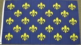 Wholesale France Flag Polyester - FLEUR DE LIS FLAG FRENCH ROYAL COAT OF ARMS PRE 1376 FRANCE BLUE Custom Football Hockey Baseball any Team House Divided Flag