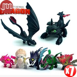 Wholesale Wholesale Resin Dragons Figures - New 7 PCS Night Fury How to Train Your Dragon 2 PVC Action Figures 5-6cm Toothless Dragon Movable Joints Kids Toys Gifts
