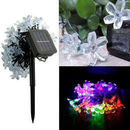 Wholesale White Blossom Lights - Solar panel Roase Lotus Peach blossom LED strip christmas light holiday decoration LED fairy garden lights