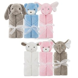 Wholesale Baby Sheets Blankets - Kids Crystal velvet elephant Blankets Winter Warm rabbit bear Blankets infant Swaddling cartoon baby bed sheet Sleeping Bag 76*76cm