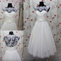 Wholesale Tea Length Chiffon Skirts - 2017 Vintage Tea Length Wedding Dress with Lace Corset Illusion Neckline Cap Sleeve Chiffon Skirt With Satin Belt White Beach Wedding Gowns
