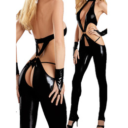 Wholesale Leather Bodysuit Women - Wholesale- Women Black Zipper Top Chaps PVC Leather bodysuit adult sex hollow out catsuit deep V jumpsuit Sexy Leather Outfit