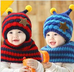 Wholesale Baby Bee Hat - Children baby Cartoon thicken Hat girl boy Winter warm Knitted Woolen Big Eyes Tentacles Caps colorful Children Insect bee fleece Beanie