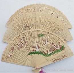 Wholesale Yellow Lace Fans - 50pcs fashion women's Accessories hollow Plum Flower Pattern Fans Girls Women Lace Bamboo Handheld Chinese Folding Fans B168