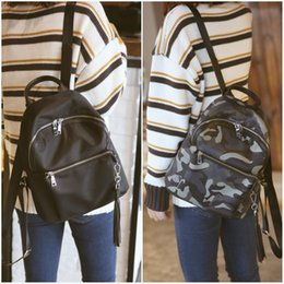 Wholesale Travel Bags Korea - Oxford spinning new backpack female 2016, Japan and South Korea fashion camouflage tassel bag nylon fabric travel bag