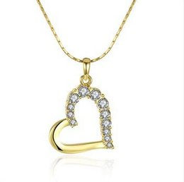 Wholesale 24k White Gold Heart - charms brand new 24k 18k yellow gold heart Pendant Necklaces jewelry GN512 fashion gemstone crystal necklace christmas gift