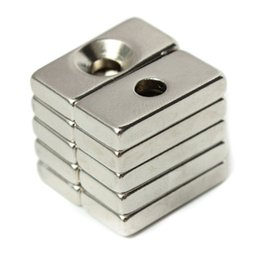 Wholesale Strong Block Magnets - 10pcs N52 20x10x4mm Strong Magnets 4mm Hole Rare Earth Neodymium Magnets