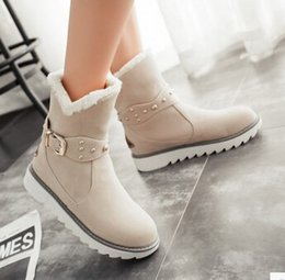 Wholesale Preppy Shoes - Wholesale-Women new fashion autumn winter warm fur snow boots preppy style flat heels round buckle shoes large plus size 40-43