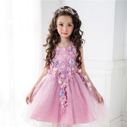 Wholesale Tulle Dress Leaves - Kids Girls Wedding Dresses 2017 Summer Baby Girl Leaves Appliques Tutu Dress Infant Princess Tulle Dress for Party Children Clothing S824