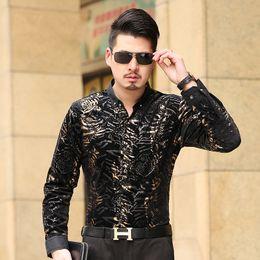Wholesale Men S Formal Shirts - Wholesale- Men's Shirt Long Sleeve Male Business Casual Velvet Fashion Formal Men Dress Shirts For Man Slim Masculina Camisa