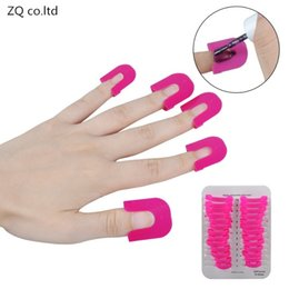 nails protector Promo Codes - Wholesale- French Nail Art Manicure Stickers Tips Finger Cover 26PCS set Professional Polish Shield Protector Plastic Case Salon Tools Set