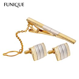 Wholesale Cuff Links Packaging - FUNIQUE Luxury Golden Men's Cuff link & Tie Clip Sets Tie Pin CuffLinks for Man Suit Dress Shirt Fit Wedding Gift Package