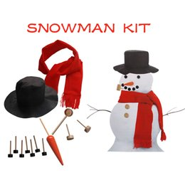 Wholesale Hat Scarf Button - Wooden Simulation Dress Up Snowman Kit Christmas Decor Accessories Sets Snowman Eyes Nose Mouth Pipe Buttons Scarf Hat 100Sets OOA3499