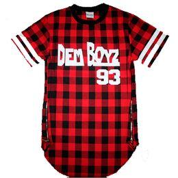 Wholesale Hooded Plaid Shirt Men - Wholesale- Dem Boyz 93 T Shirt Men's Red Plaid Clothing Extended Side Zipper T Shirt Streetwear Kanye West Hip Hop T Shirt