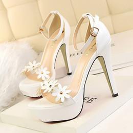 Estilo dulce Sandalias Mujeres Bombas Talones de cuero de la PU del dedo del pie abierto delgados tacones altos del partido del partido Zapatos de boda Bombas formales Sandalias GWS191 desde fabricantes