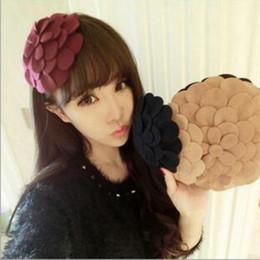 Wholesale Top Hat Barrette - Cute Woolen Hair Clips Hat Flower Headband Fashion Barrettes Hair Accessories Hairpin Top Clip Hair Clips