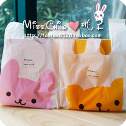 Wholesale Recycled Hand Bags - Wholesale- 20PCS Pink Yellow Bear Waistcoat Packaging Bags Gift and Decorations Hand Length Handle Plastic Candy Packing Bag B018