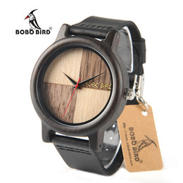 Wholesale Paper Pins - BOBO BIRD N08 New Wooden Men Watches Top Brand Luxury Uomo Orologio with Genuine Leather Strap in Gift Paper Box