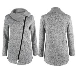 Wholesale inclined zipper jacket - Wholesale- New Womens Winter Warm Casual Long Inclined Zipper Hooded Jacket Coat Sweatshirt Outwear Coat