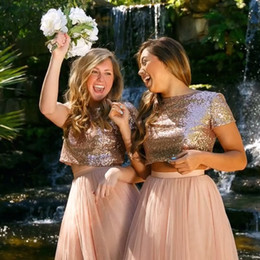 Wholesale long dresses sleeves for beach party - New Arrival 2017 Rose Gold Two Pieces Bridesmaid Dress Sequins Crop Tulle Beach Cheap Blush Pink Bridesmaid Dresses for Wedding Party