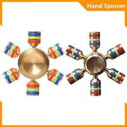Wholesale Copper Spinners - 2017 Trending Toy Best EDC six arms new design copper metal hand spinners Fidget spiner luminous relax anti-stress