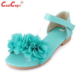 Wholesale Ladies Sandals Color Blue - Wholesale-Gladiator Sandals For Women Bohemia Beaded Summer Flower Lady Flat Flip Flops Women Shoes Sweet Color Sandals Size 34-43 PA00427
