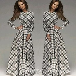 Wholesale Maxi Cotton Long - 2017 Women's Clothing spring and autumn plaid plus size maxi dress long sleeves casual Vintage cotton dresses