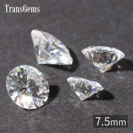 Wholesale Lab Gem - Wholesale- TransGems 7.5mm 1.5 Carat Certified EF Colorless Moissanite Loose Lab Diamond Gemstone Test as Real Diamond Round Brilliant Gem