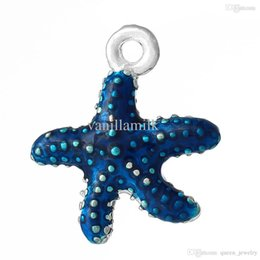 Wholesale Enamel Starfish - Wholesale-Charm Pendants Starfish Silver Plated Enamel Royal Blue 18.0mm x 16.0mm, 10 PCs 2015 new