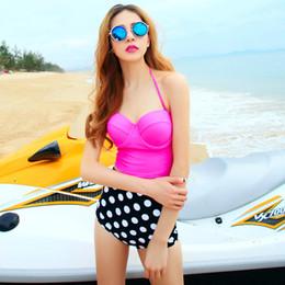2019 pin up badeanzüge Arbeiten Sie nettesten Retro Badeanzug-Badebekleidungs-Weinlese Pin herauf Bikini-gesetzten Tupfen-Knopf-Bikini-Badeanzug der hohen Taille um freies Verschiffen auf Lager rabatt pin up badeanzüge