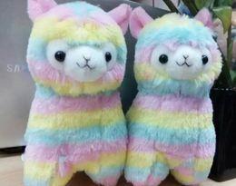 niedliche gefüllte affen großhandel Rabatt 17cm Rainbow Alpaca Vicugna Pacos Plüschtier Japanischer Weichem Plüsch Alpacasso Baby Plüsch Tiere Alpaka Kind Geschenke