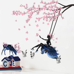 Wholesale Sticker Swing - Romantic Flower Fairy Girl Butterfly Wall Stickers Beautiful Deer Swing For Kids Rooms Decal Home Decor Wallpaper Mural Poster
