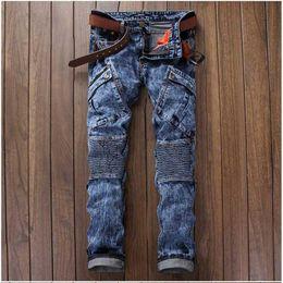 Wholesale Motorcycles Products - Wholesale-Hot Sale Slim Men's Patchwork Jeans Product Biker Jeans Famous Brand Men Pencil Pants Personality Design Motorcycle Biker Jeans